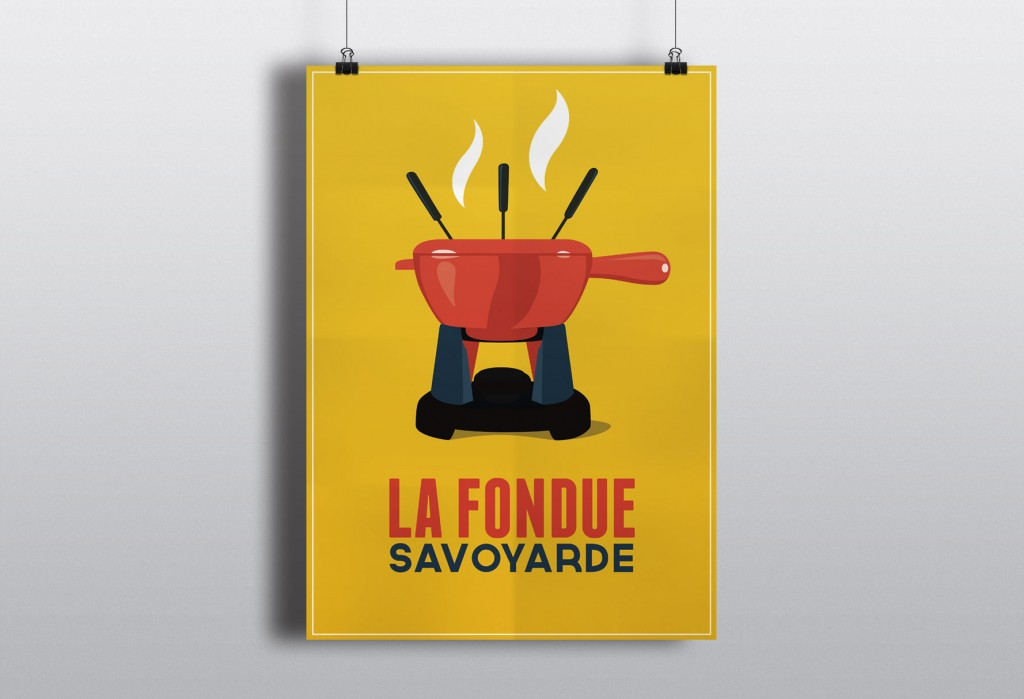 illustration affiche fondue vintage