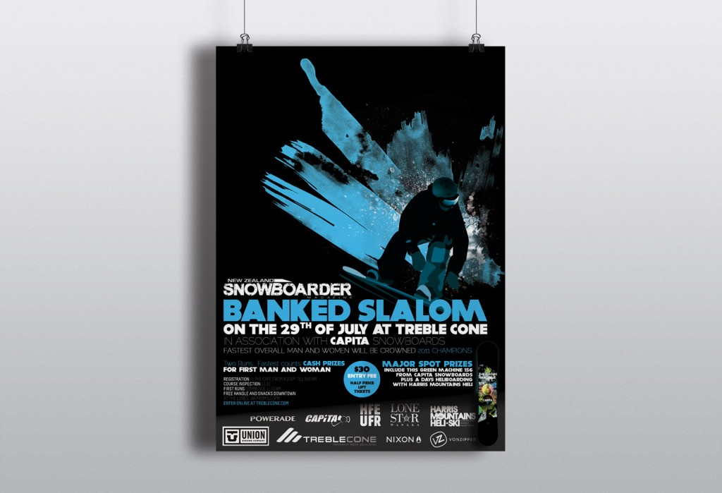 affiche treble cone banked slalom