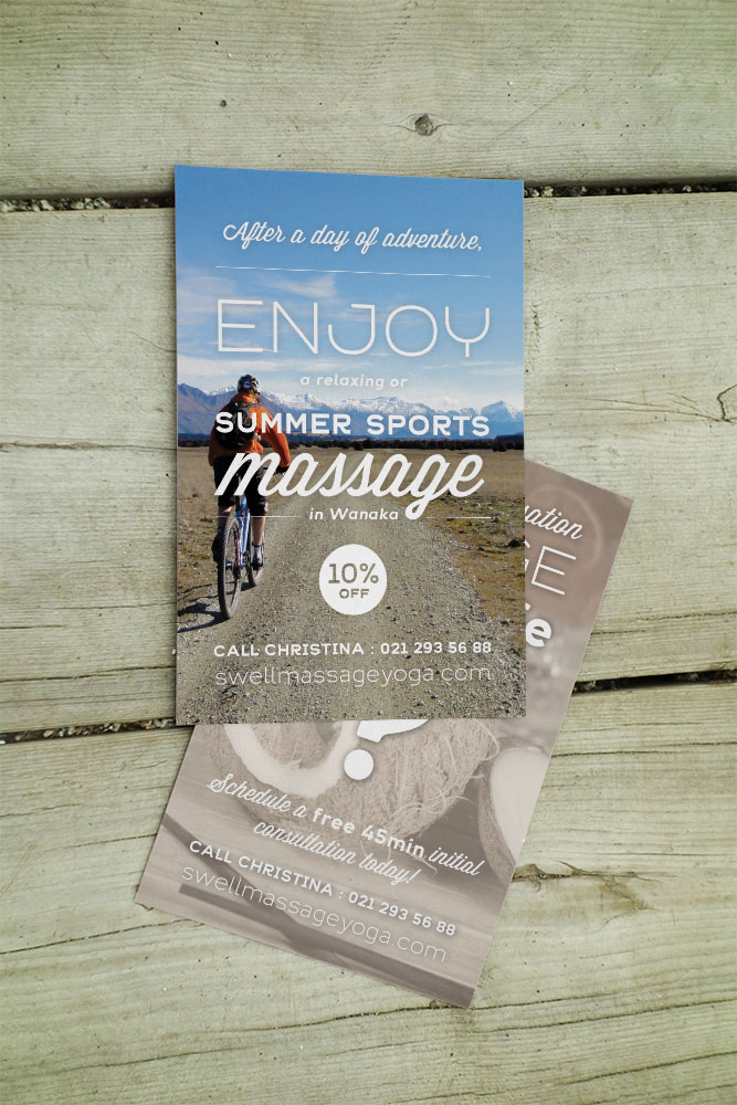 Design carte postale nutrition massage